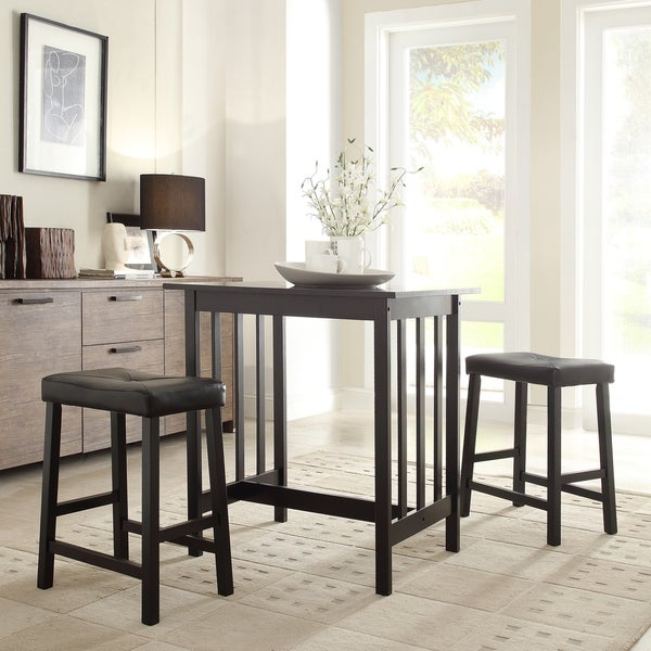 TRIBECCA HOME Nova Black 3-piece Kitchen Counter Height Dining Set