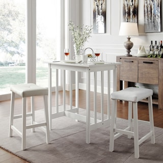 TRIBECCA HOME Nova White 3-piece Kitchen Counter Height Dining Set