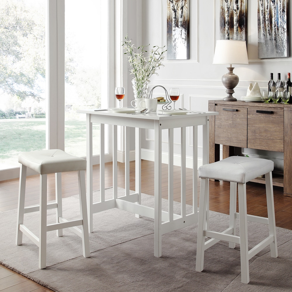 Counter Height White Dining Set : TRIBECCA HOME Nova White 3-piece Kitchen Counter Height Dining Set ...