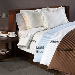 Wrinkle-resistant 300 Thread Count Reversible Solid/Stripe 3-piece Duvet Cover Set