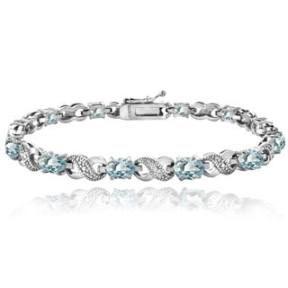 Glitzy Rocks 18k Gold over Silver Blue Topaz and Diamond XOXO Bracelet