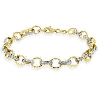 DB Designs 18k Gold over Sterling Silver Diamond Rolo Link Bracelet