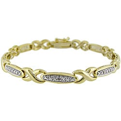 DB Designs 18k Gold over Silver Diamond X-style Bar Bracelet