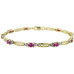 Glitzy Rocks 18k Gold over Silver Ruby and Diamond Accent Bracelet
