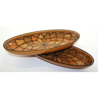 Set of 2 16-inch Honey Design Oval Platters (Tunisia)