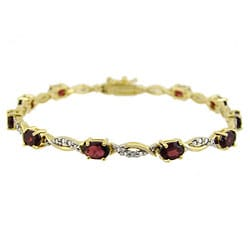 Glitzy Rocks 18k Gold Silver Garnet and Diamond Accent Bracelet