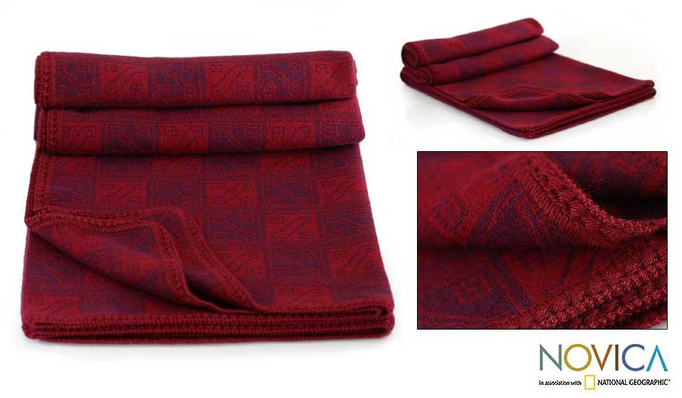 'Glyphs in Red' Alpaca Wool Throw Blanket (Peru)