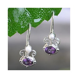 Silver Amethyst/ Pearl 'Sunrise Spirit' Earrings (Indonesia)