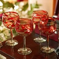 Set of 6 'Crimson Serpentines' Blown Wine Glasses (Mexico)