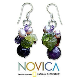Silver Garnet/ Amethyst 'Bright Bouquet' Earrings (Thailand)