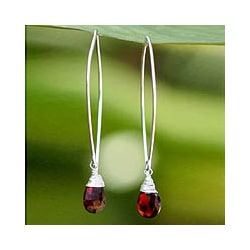 Sterling Silver and Garnet 'Sublime' Drop Earrings (Thailand)
