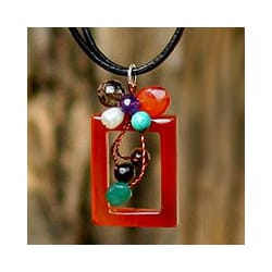 Leather Multigem 'Balloons' Pendant Necklace (Thailand)