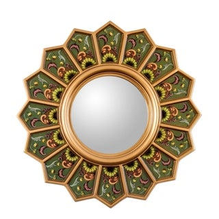 'Green Sunflower Fan' Mirror (Peru)