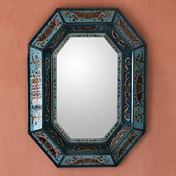 Nautical Blue Artisan Handmade Decor Reverse Painted Glass Red Hued Floral Hallway Bedroom Bathroom Accent Wall Mirror (Peru)