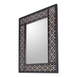 Silver Blossoms Handmade Artisan Designer Reverse Painted Glass Floral Black Hallway Bedroom Bathroom Accent Wall Mirror (Peru)