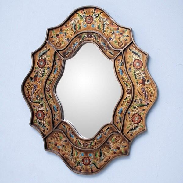 Handmade Song of Spring Wooden Frame Mirror (Peru)