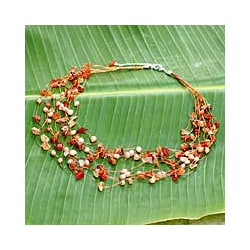 Silverplated 'Warm Shower' Pearl/ Carnelian Necklace (Thailand)