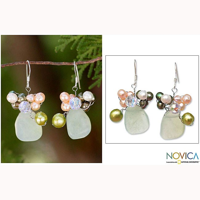 Sterling Silver Pearl and Prehnite 'Elixir' Earrings (Thailand)