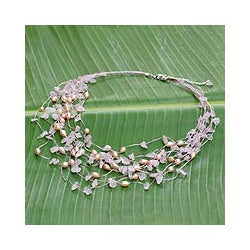 Pearl and Rose Quartz 'Cascade' Strand Necklace (Thailand)