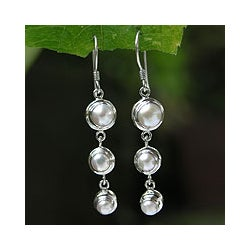 Silver 'Three Full Moons' Pearl Drop Earrings (Indonesia)