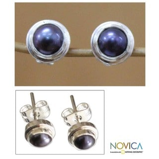 Sterling Silver 'Purple Moon' Pearl Stud Earrings (Indonesia)