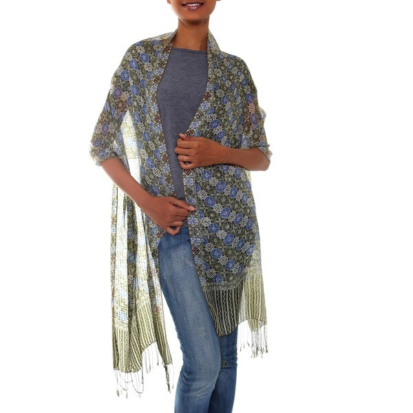 Floral Stars 100% Silk Unique Artisan Cream Blue Tan Batik Printed Soft and Semi Sheer Womens Fashion Scarf Shawl (Indonesia)