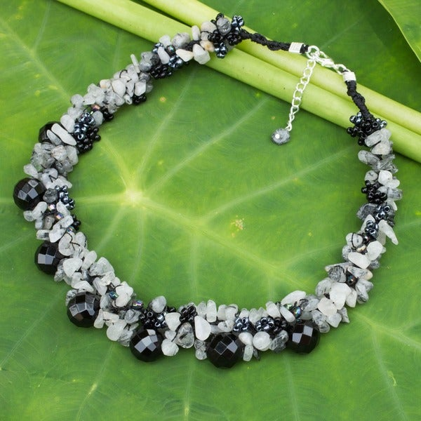 Sterling Silver Smokey/ Rutile Quartz 'Gush' Necklace (Thailand)
