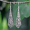 Sterling Silver 'Graceful Buds' Dangle Earrings (Thailand)