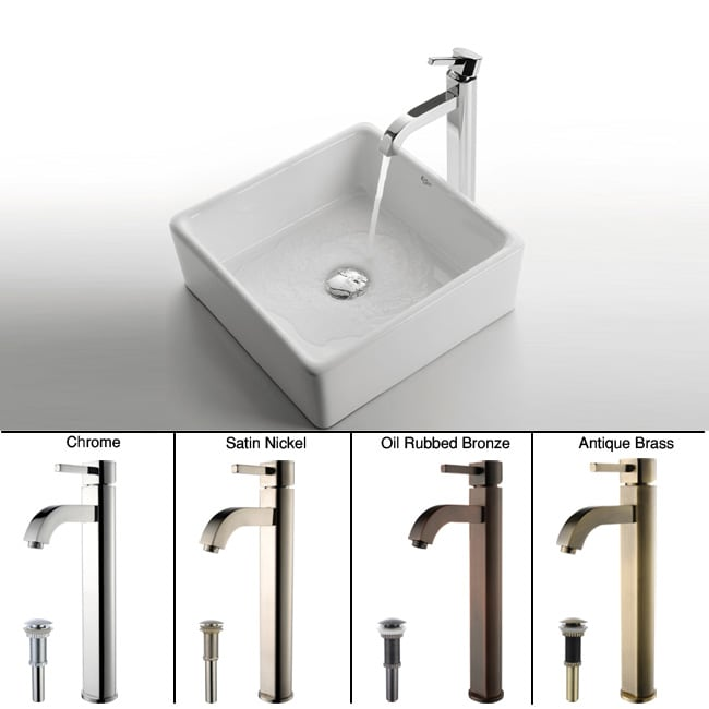 Kraus White Square Ceramic Sink and Ramus Faucet
