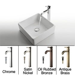 Kraus White Square Ceramic Sink and Ramus Faucet