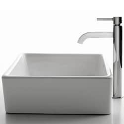 Kraus White Square Sink and Ramus Bathroom Faucet