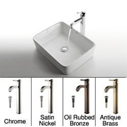 Kraus Rectangular Ceramic Sink and Ramus Faucet