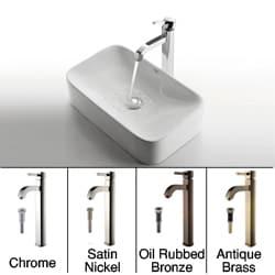 Kraus Rectangular Ceramic Sink and Ramus Faucet