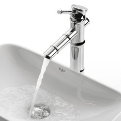 Kraus Rectangular Ceramic Sink and Bamboo-style Faucet
