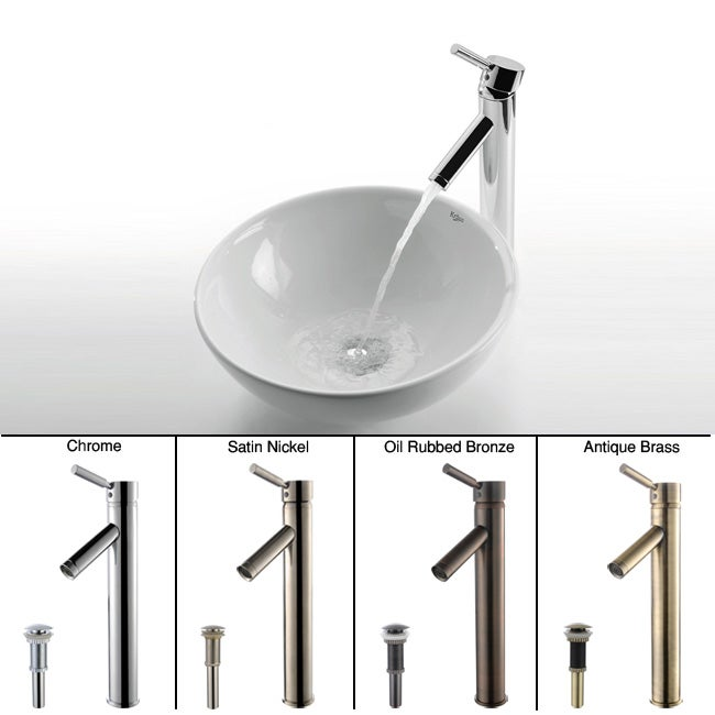 Kraus Round Ceramic Vessel Sink and Sheven Faucet