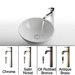 Kraus Round Ceramic Vessel Sink/ Ramus Bathroom Faucet