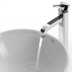 Kraus Round Ceramic Vessel Sink and Ramus Faucet
