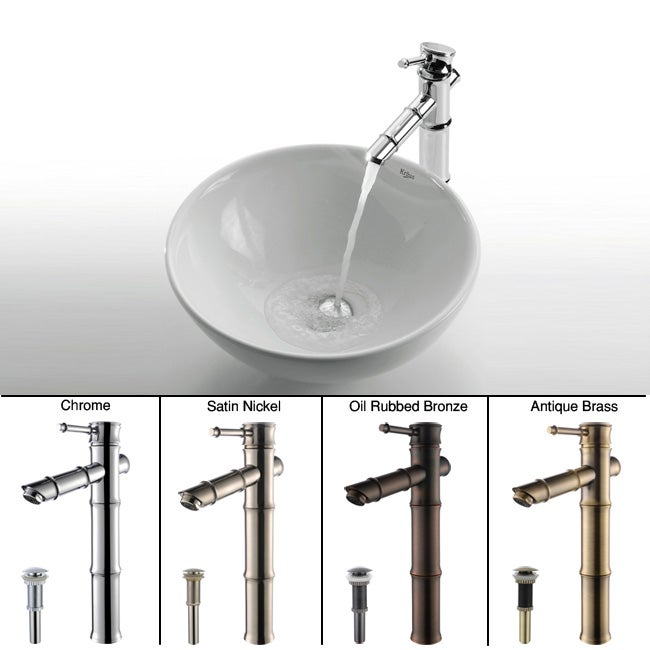 Kraus Round Ceramic Vessel Sink/ Bamboo Bathroom Faucet