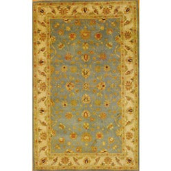 Indo Mahal Hand-tufted Light Blue/ Ivory Rug (5'3 x 8'2)
