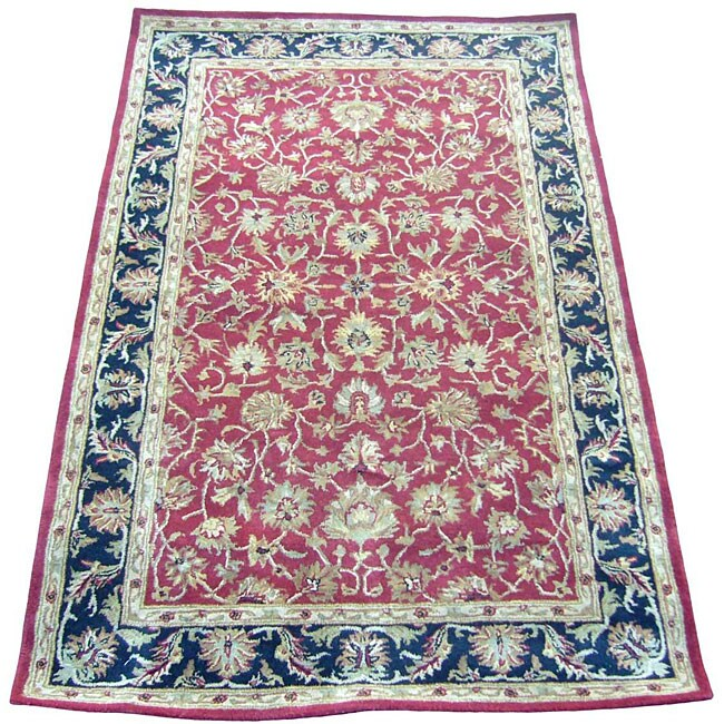 Indo Red/ Beige Wool Rug (3'3 x 5'3)
