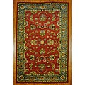 Indian Red/ Green Wool Rug (5'3 x 8'2)