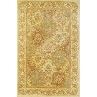 Indian Beige/ Ivory Wool Rug (5'3 x 8'2)