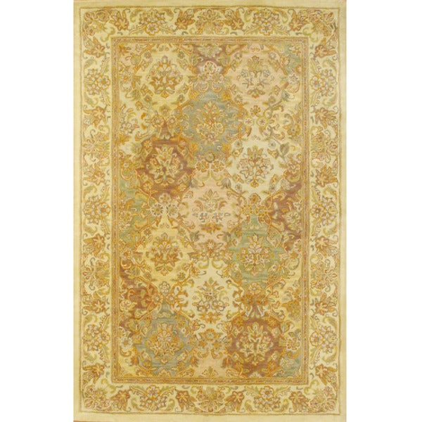 Herat Oriental Indo Hand-tufted Tabriz Beige/ Ivory Wool Rug (5'3 x 8'2)