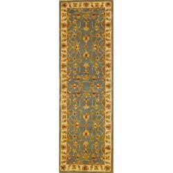 Indian Light Blue/ Ivory Wool Rug (2'6 x 8)