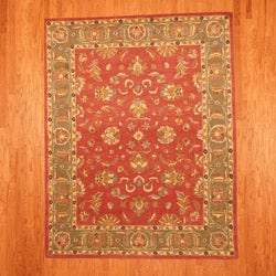 Indo Mahal Red/ Green Rug (7'3 x 9'3)