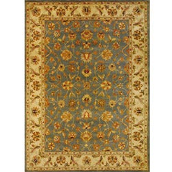 Herat Oriental Indo Hand-tufted Mahal Light Blue/ Ivory Wool Rug (8' x 11')
