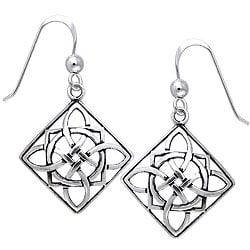CGC Sterling Silver Celtic Power Shield Knot Earrings