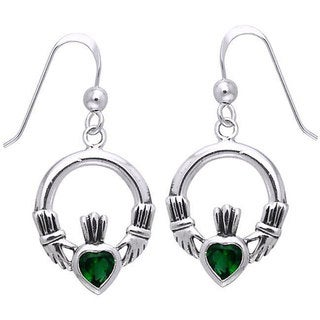 CGC Sterling Silver Celtic Claddagh Created Emerald Dangle Earrings