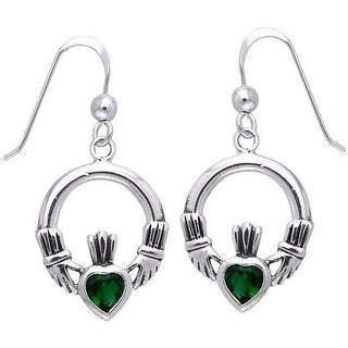 Carolina Glamour Collection Sterling Silver Celtic Claddagh Created Emerald Dangle Earrings