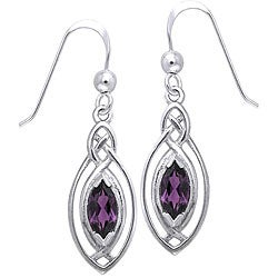 CGC Sterling Silver Celtic Oval Amethyst Dangle Earrings
